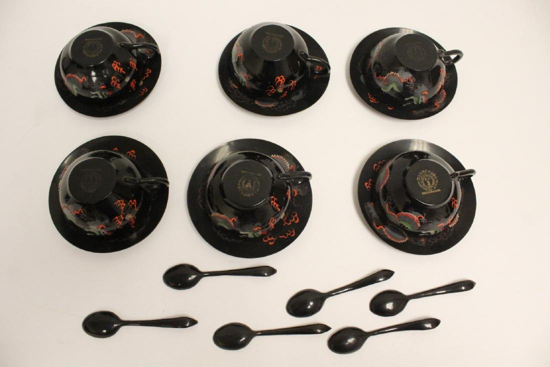 16 pieces Chinese Fuzhou lacquer set with tray - 8