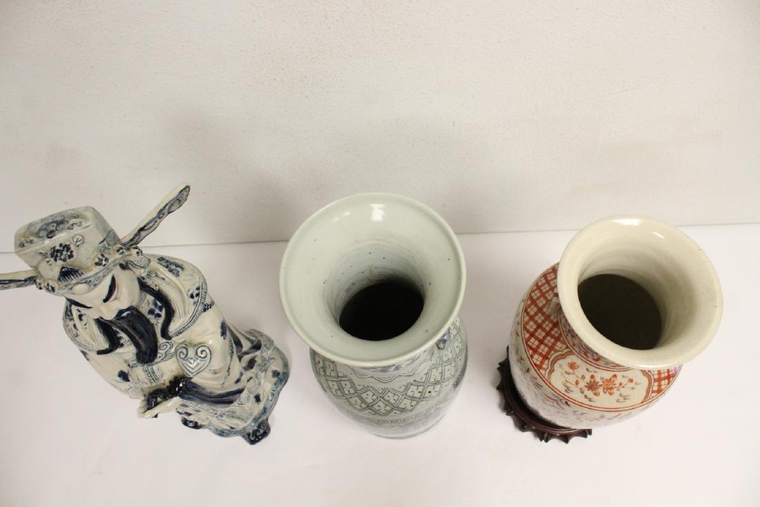 2 porcelain vase,s, and a figure - 2