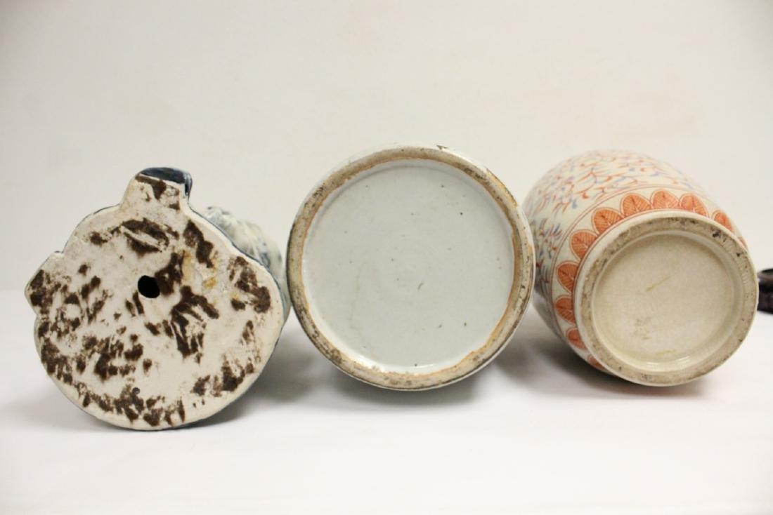 2 porcelain vase,s, and a figure - 3