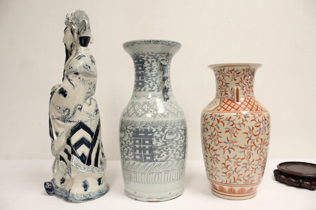 2 porcelain vase,s, and a figure - 4