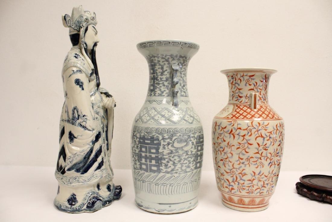 2 porcelain vase,s, and a figure - 5