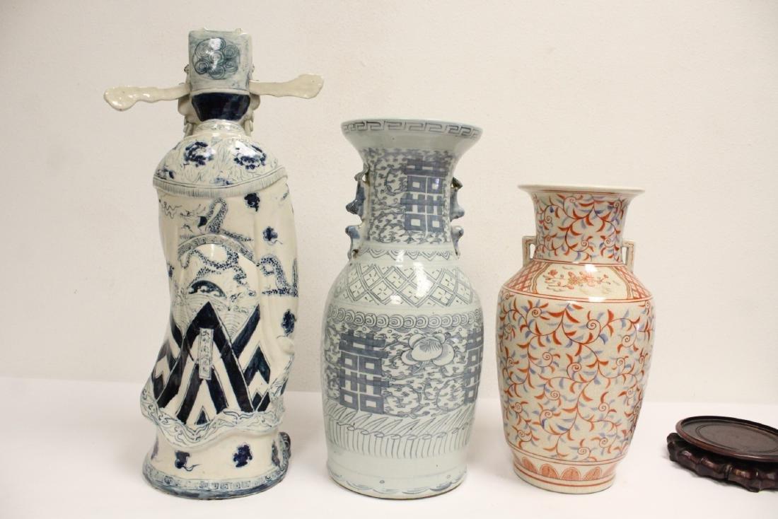 2 porcelain vase,s, and a figure - 6