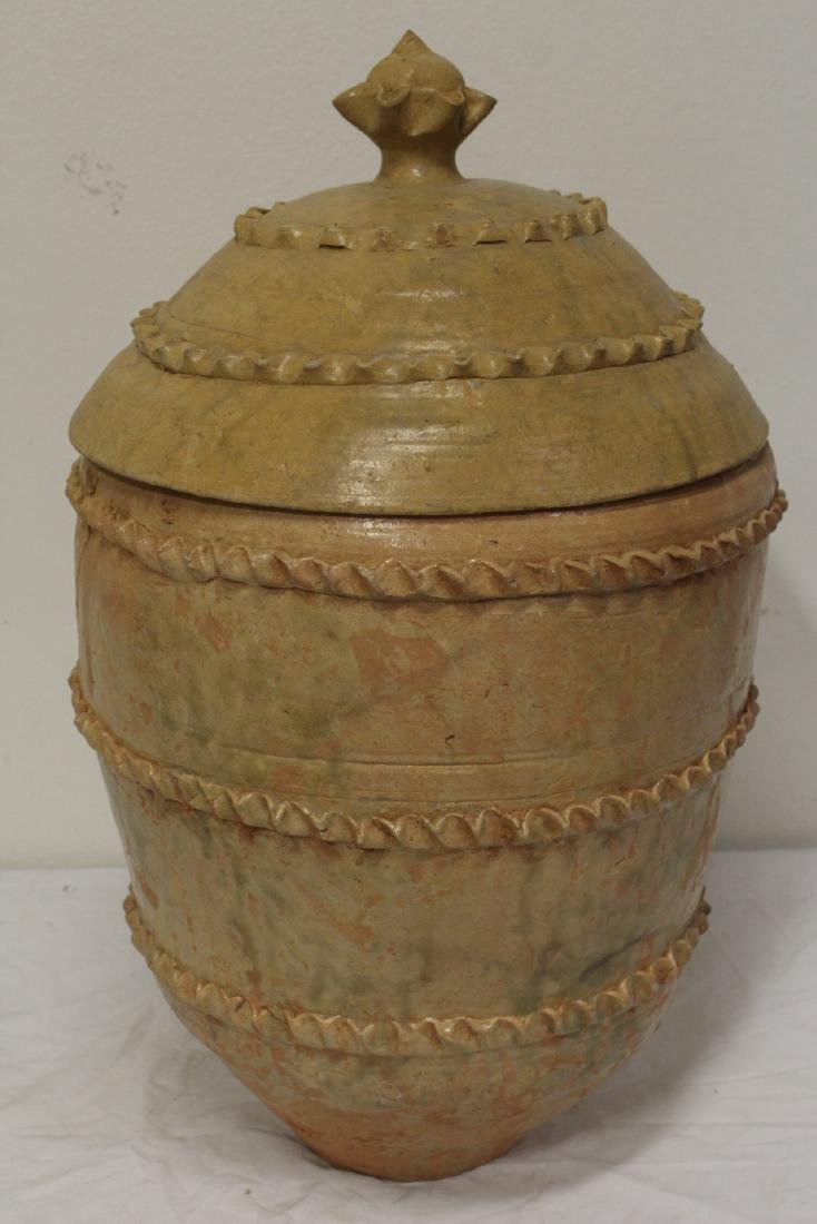 Chinese 18th century or early pottery covered jar