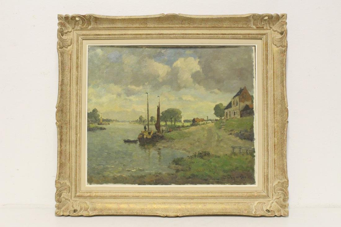 Oil on board depicting rural scene with river