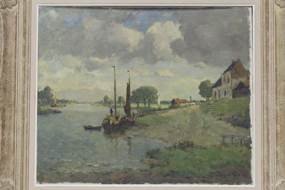 Oil on board depicting rural scene with river - 2