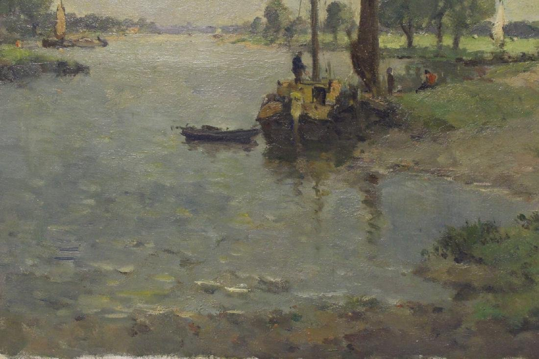 Oil on board depicting rural scene with river - 4