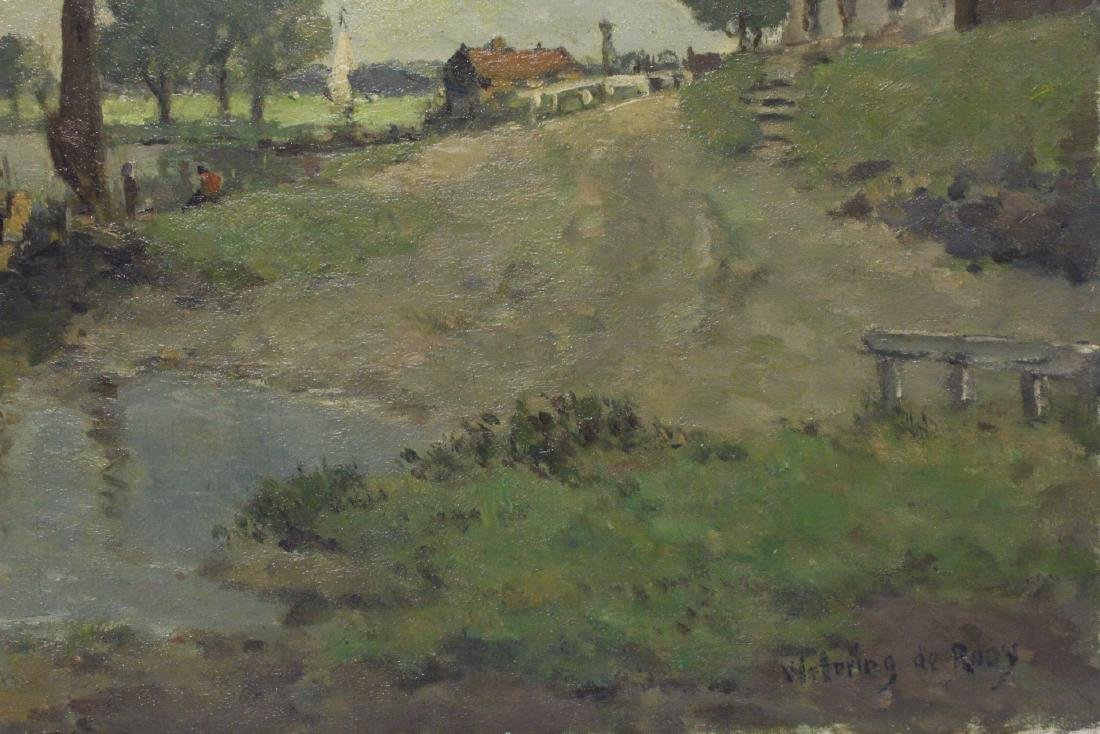 Oil on board depicting rural scene with river - 5