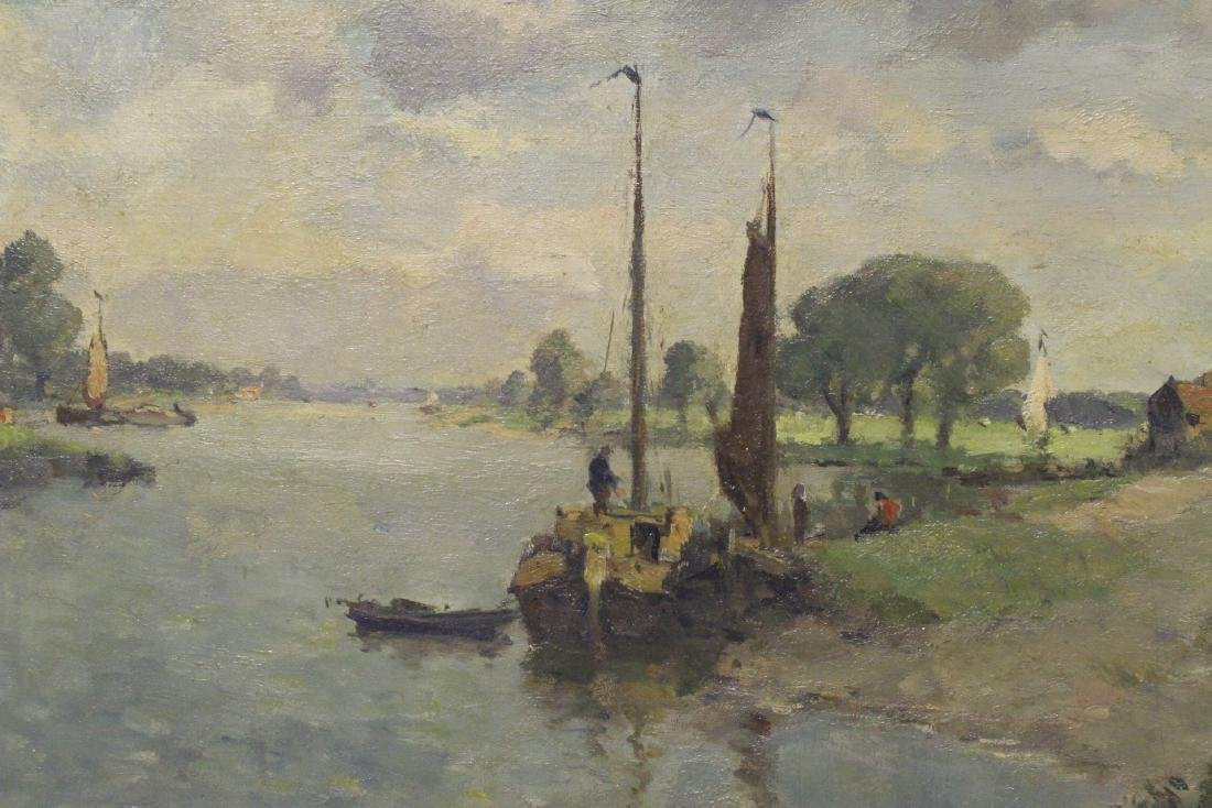 Oil on board depicting rural scene with river - 8