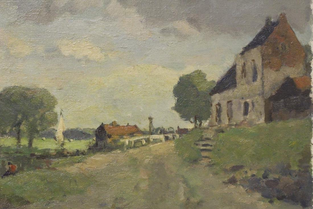 Oil on board depicting rural scene with river - 9
