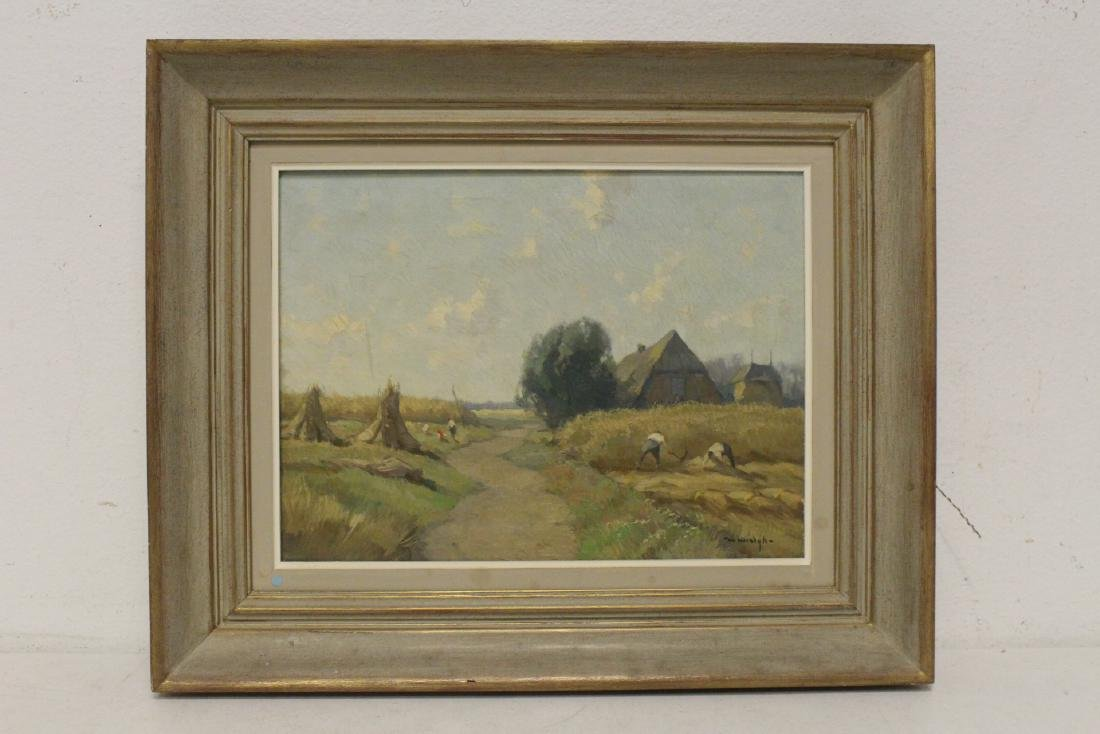 """Oil on canvas """"harvest"""", signed"""