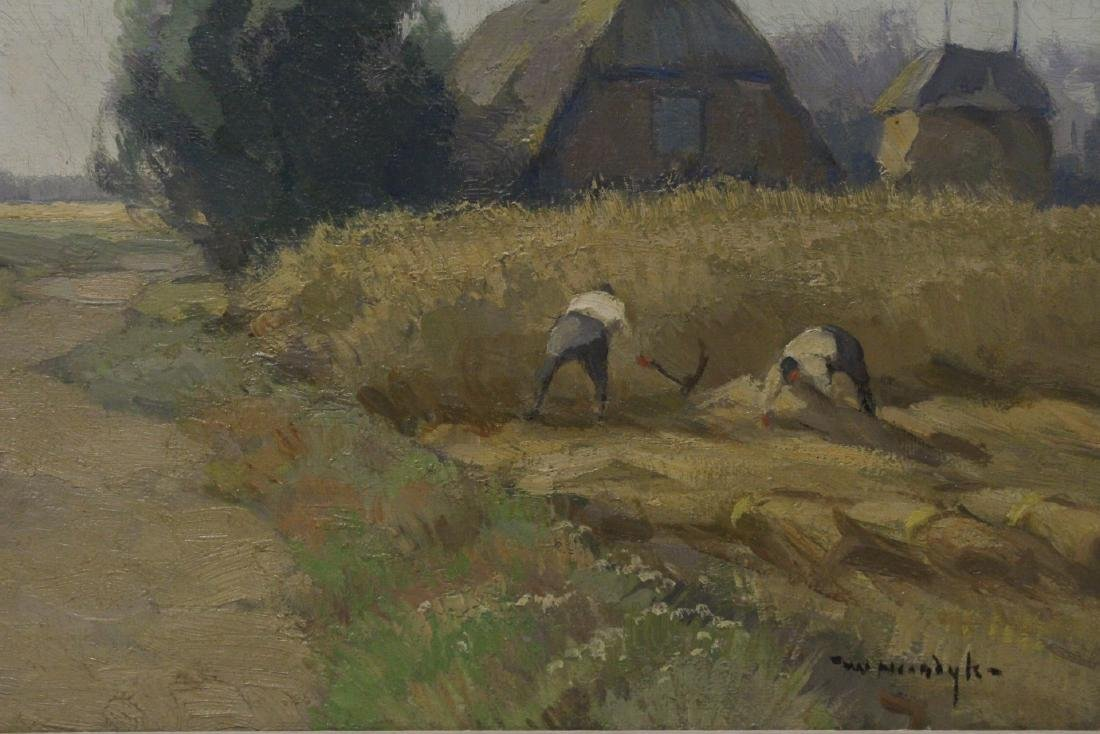 """Oil on canvas """"harvest"""", signed - 4"""