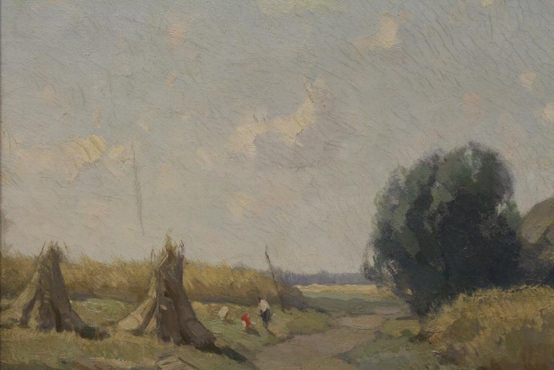 """Oil on canvas """"harvest"""", signed - 6"""
