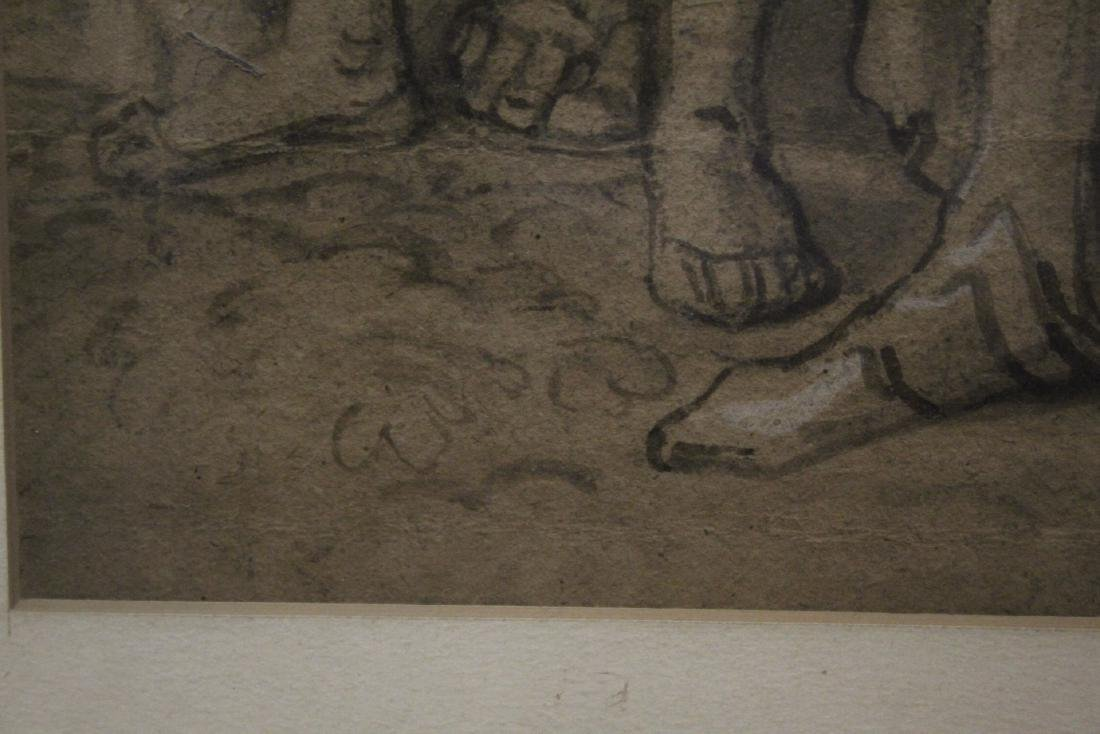 important 18th c. watercolor/charcoal painting - 10