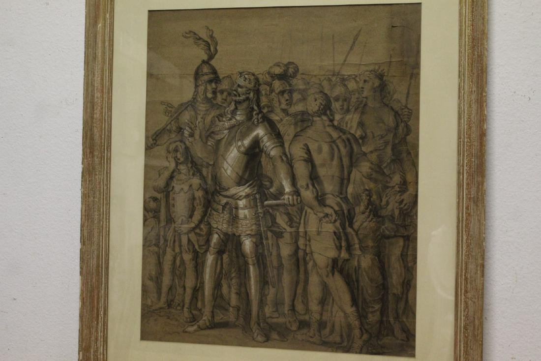 important 18th c. watercolor/charcoal painting - 2