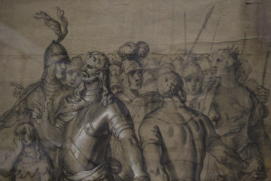 important 18th c. watercolor/charcoal painting - 4