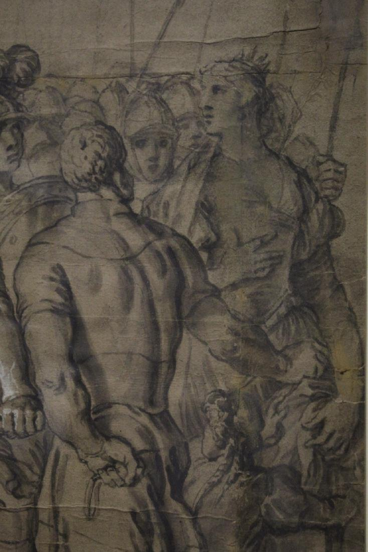 important 18th c. watercolor/charcoal painting - 5