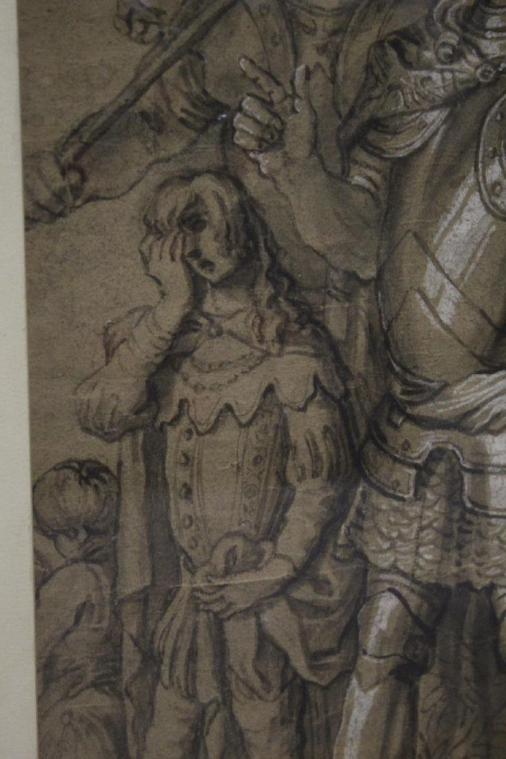important 18th c. watercolor/charcoal painting - 7