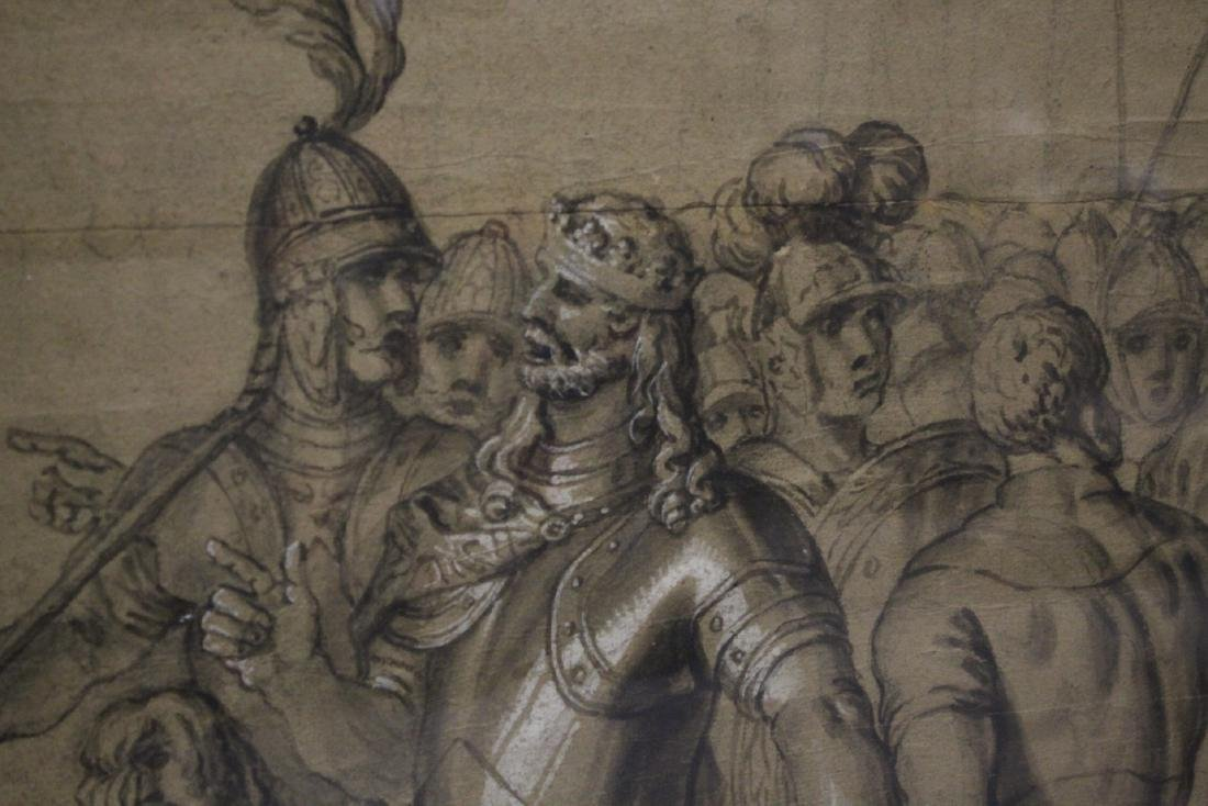 important 18th c. watercolor/charcoal painting - 8