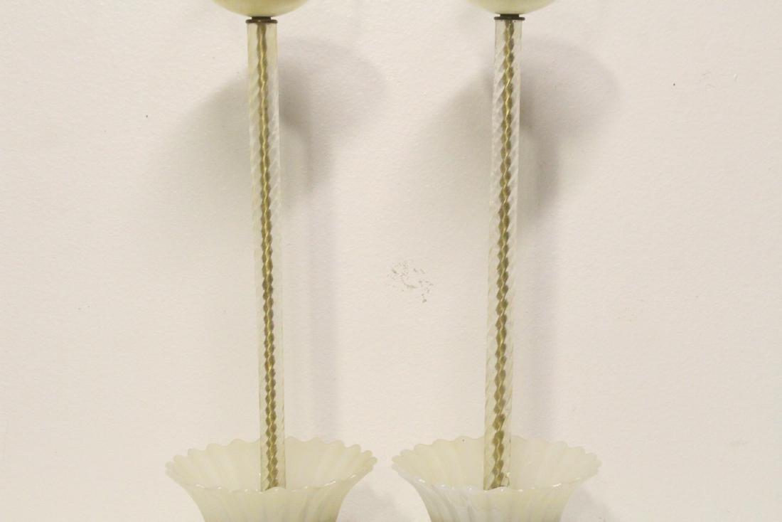 Pair vintage Venetian glass lamps - 3
