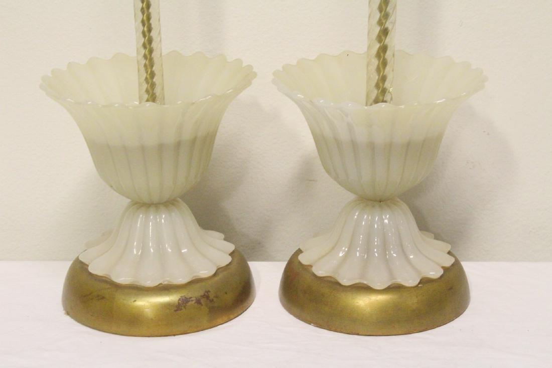 Pair vintage Venetian glass lamps - 4