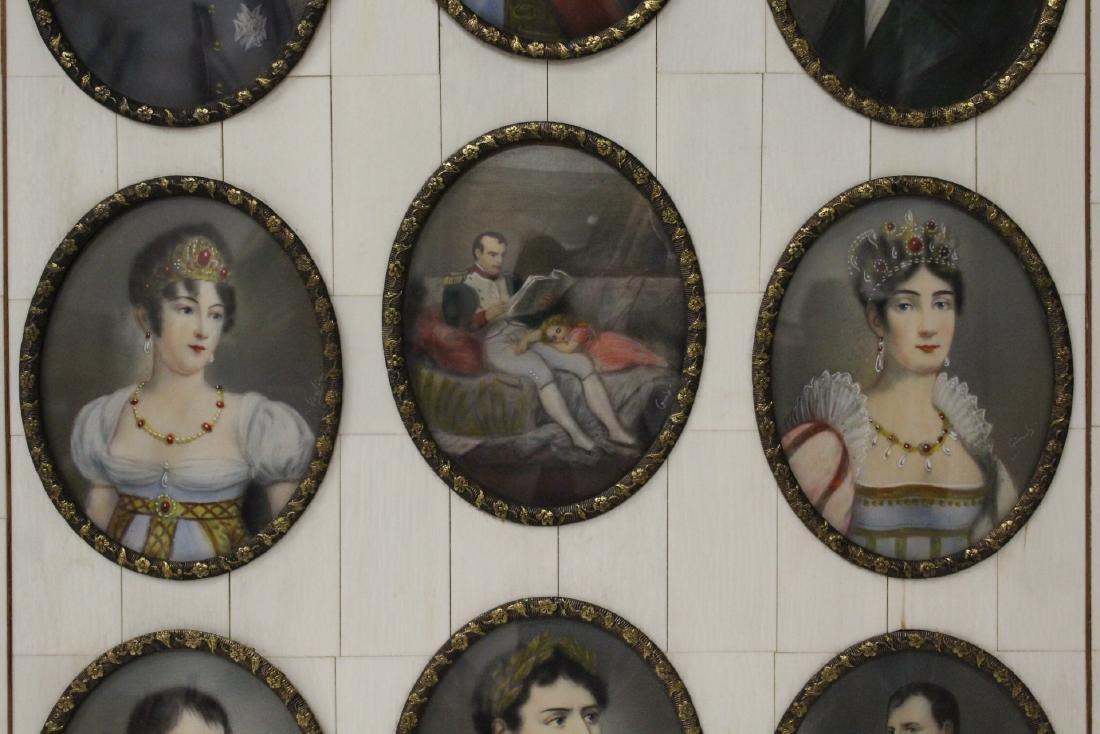 Beautiful framed 9 miniature paintings - 3