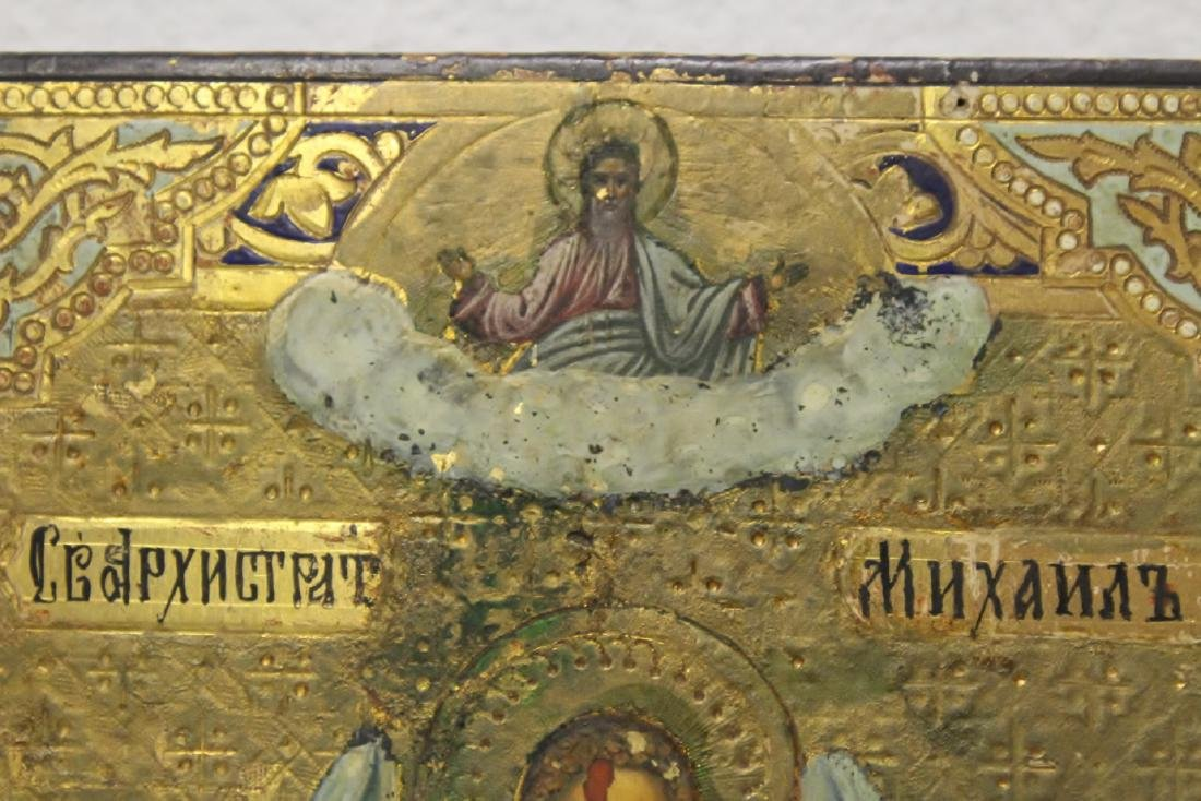 Antique Russian painting on wood icon - 9