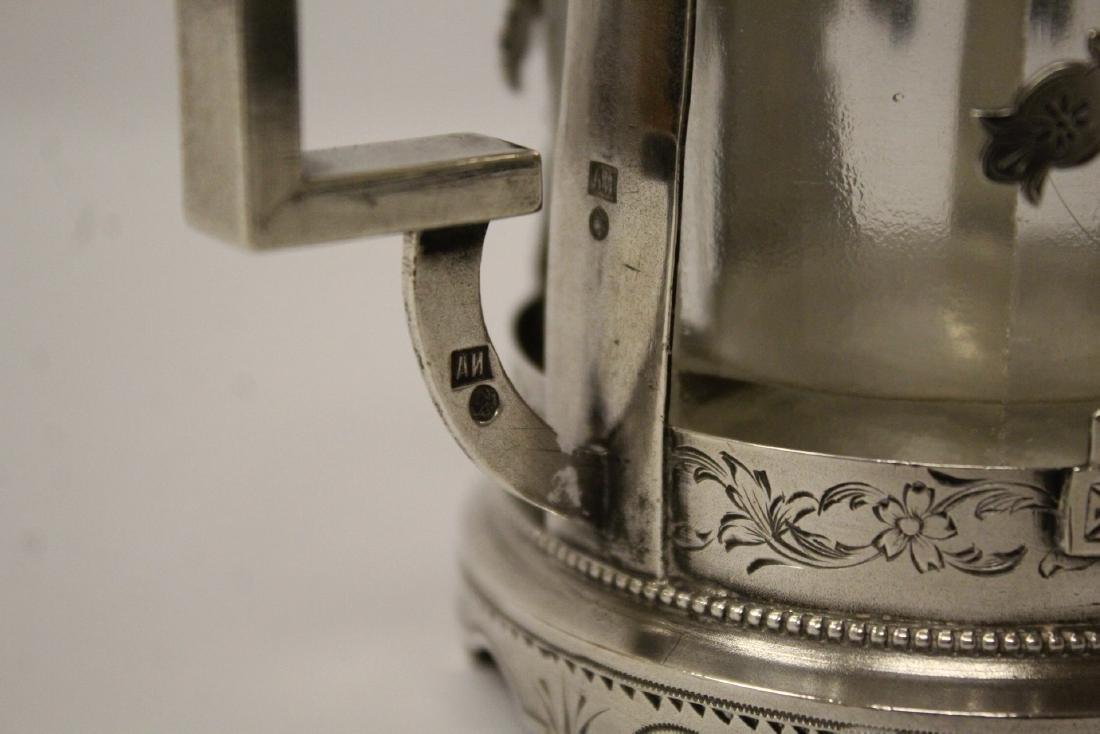 Antique Russian 84 silver cup holder with glass cup - 10