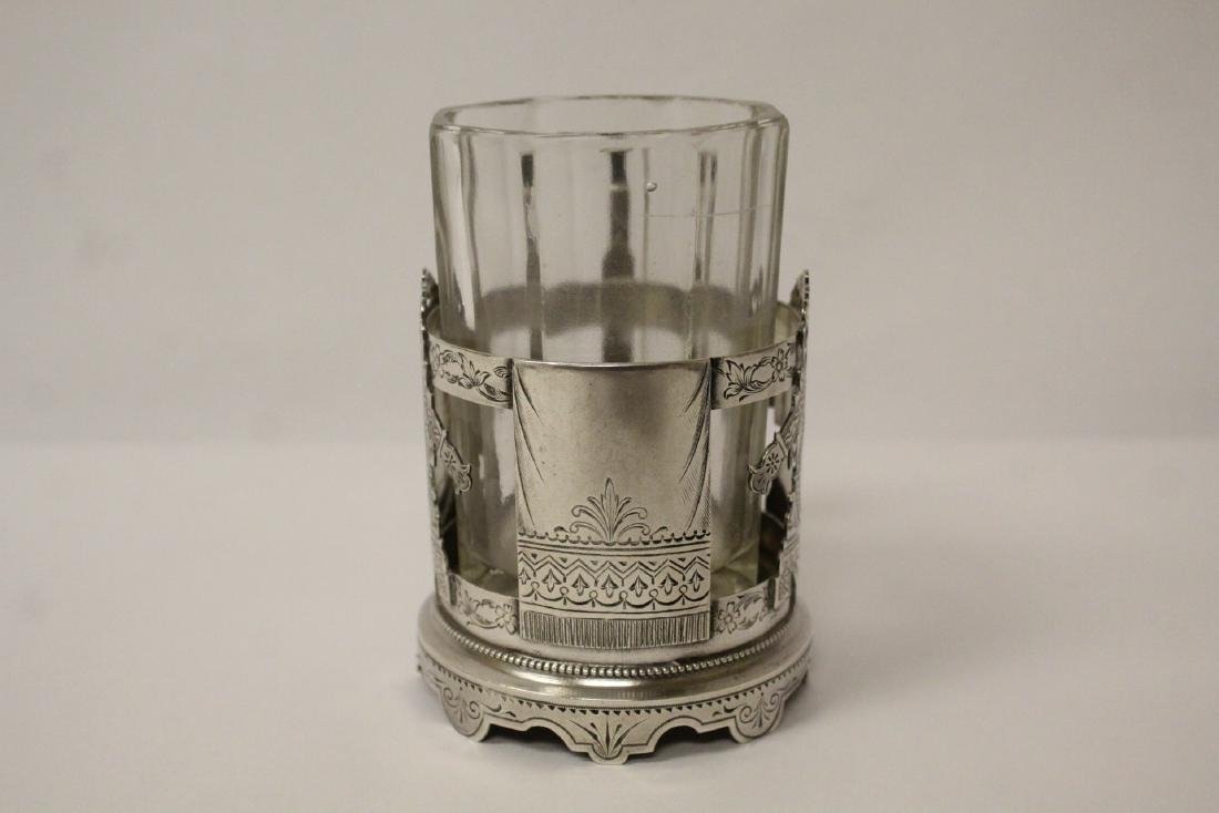 Antique Russian 84 silver cup holder with glass cup