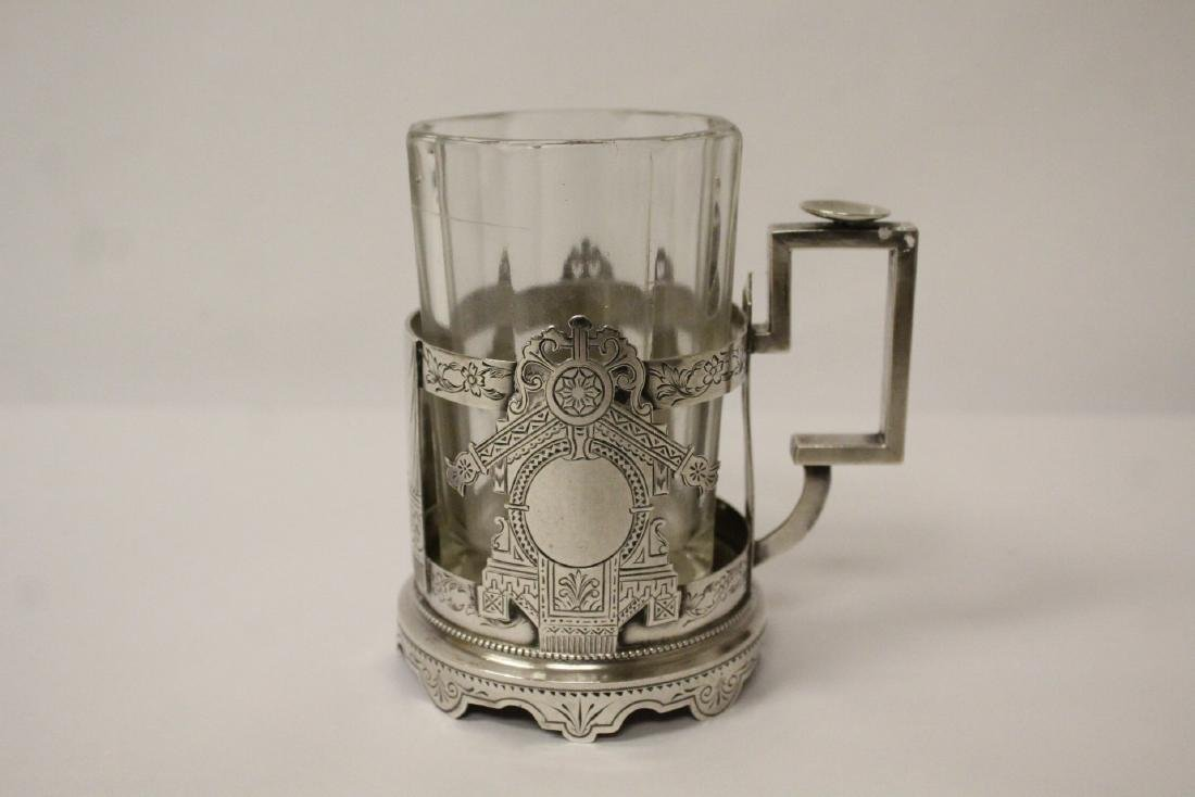 Antique Russian 84 silver cup holder with glass cup - 2