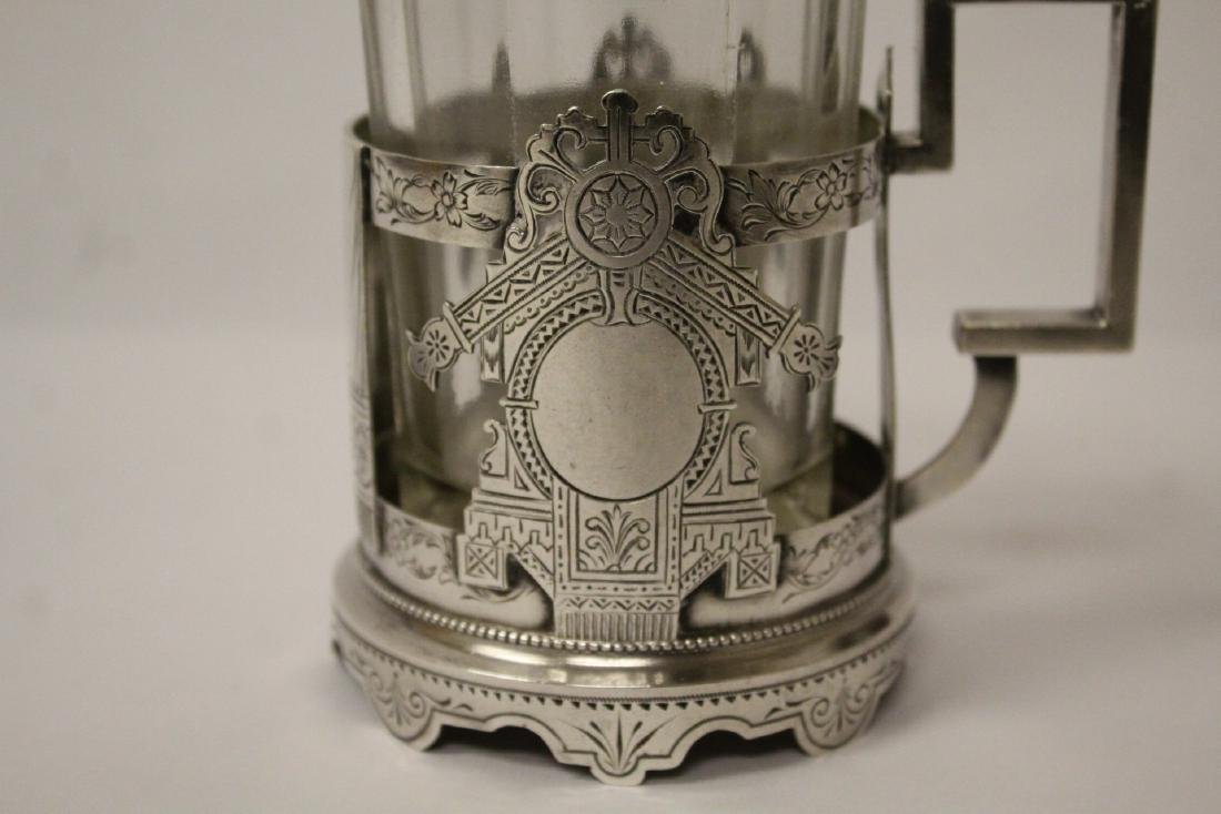 Antique Russian 84 silver cup holder with glass cup - 3