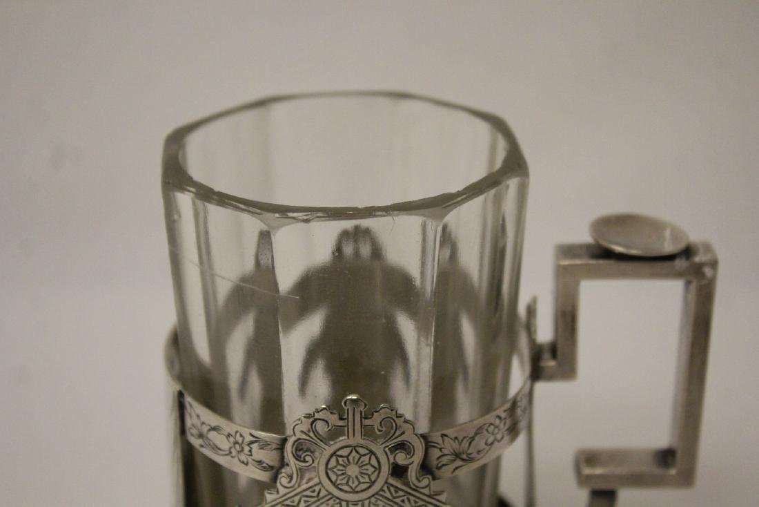 Antique Russian 84 silver cup holder with glass cup - 4