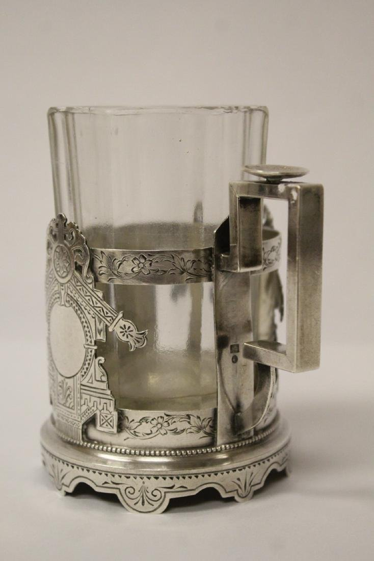 Antique Russian 84 silver cup holder with glass cup - 5