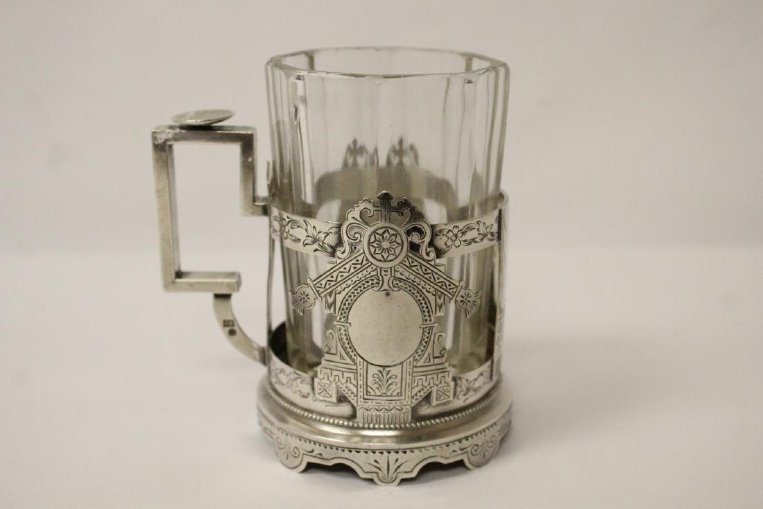 Antique Russian 84 silver cup holder with glass cup - 7