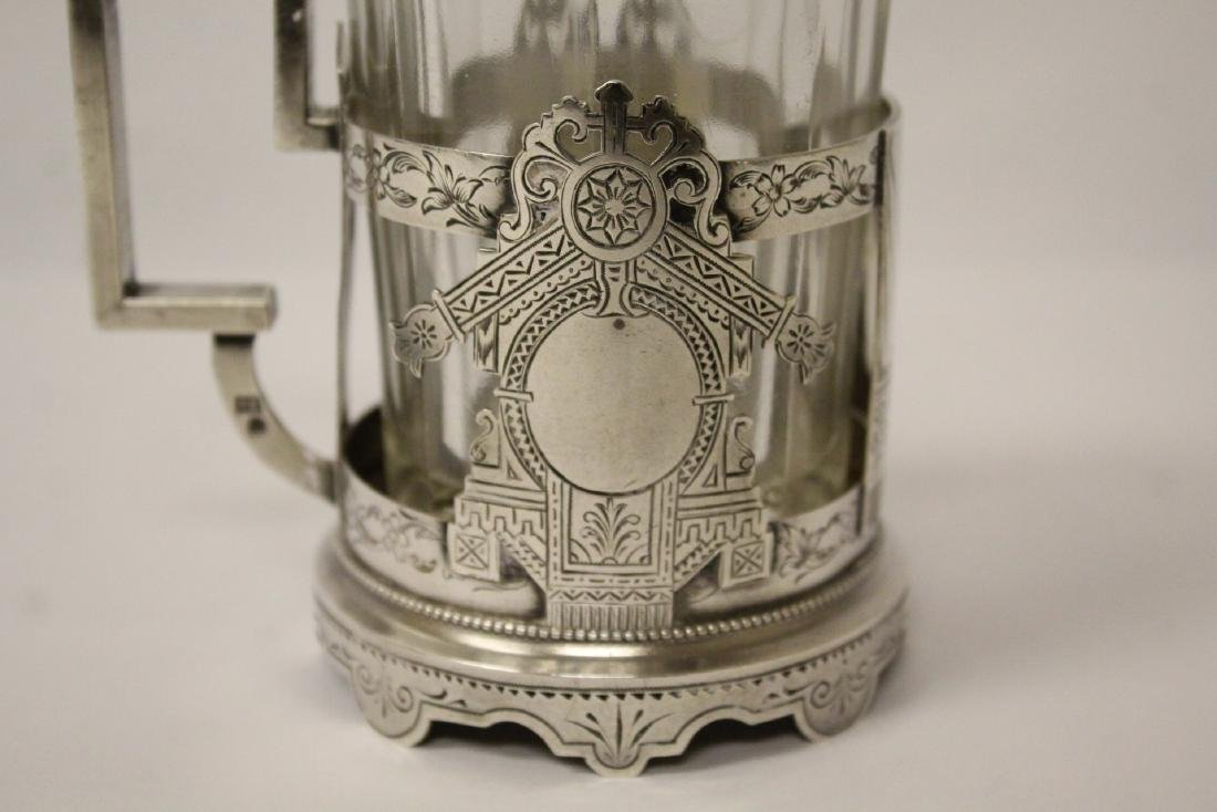 Antique Russian 84 silver cup holder with glass cup - 8