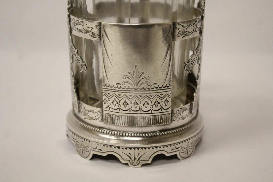 Antique Russian 84 silver cup holder with glass cup - 9
