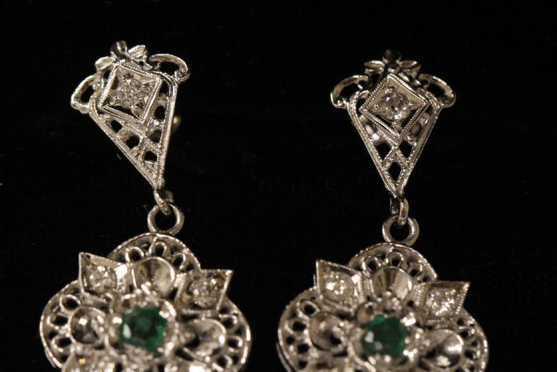 Pair 14K W/G emerald diamond earrings - 2