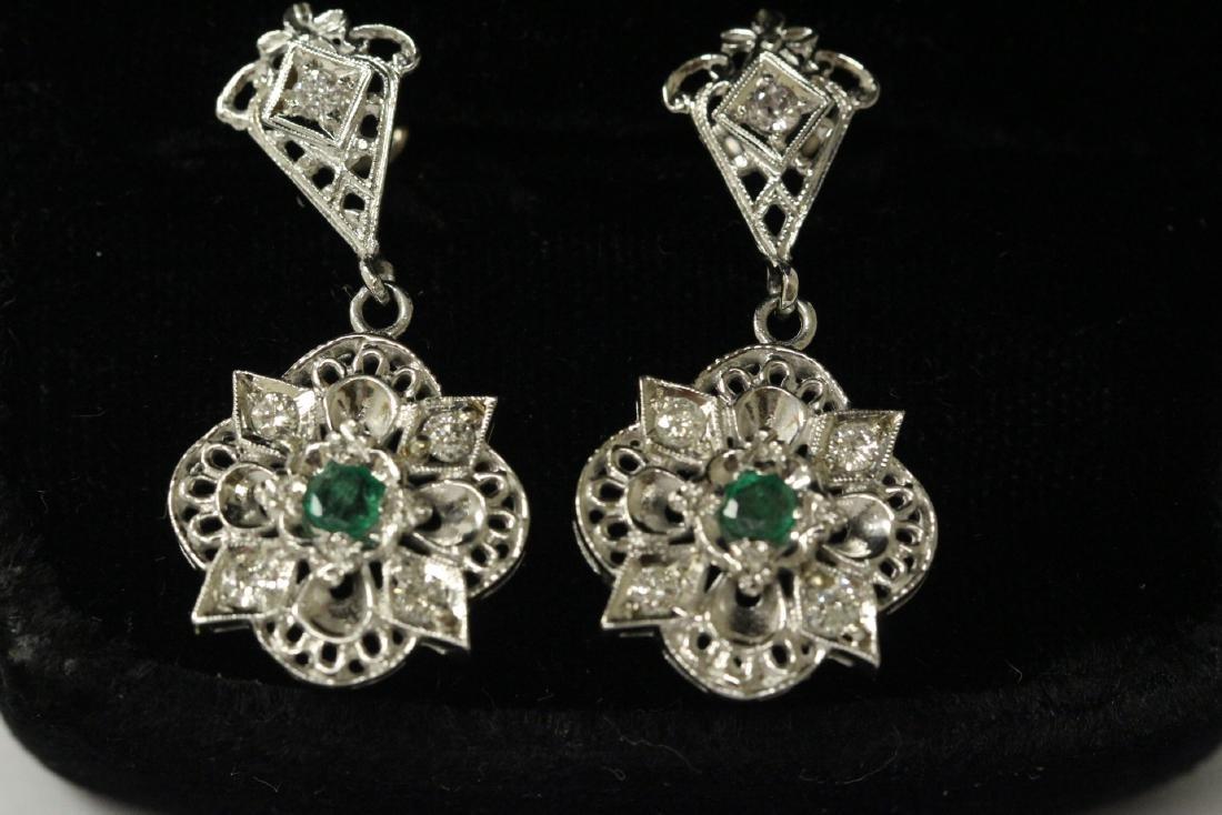 Pair 14K W/G emerald diamond earrings - 3