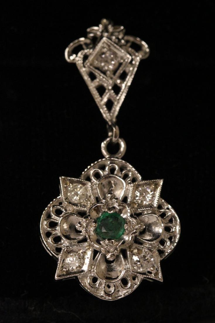 Pair 14K W/G emerald diamond earrings - 4