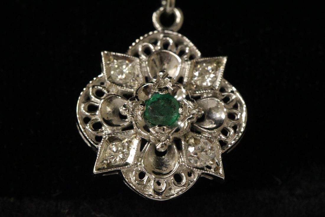 Pair 14K W/G emerald diamond earrings - 5