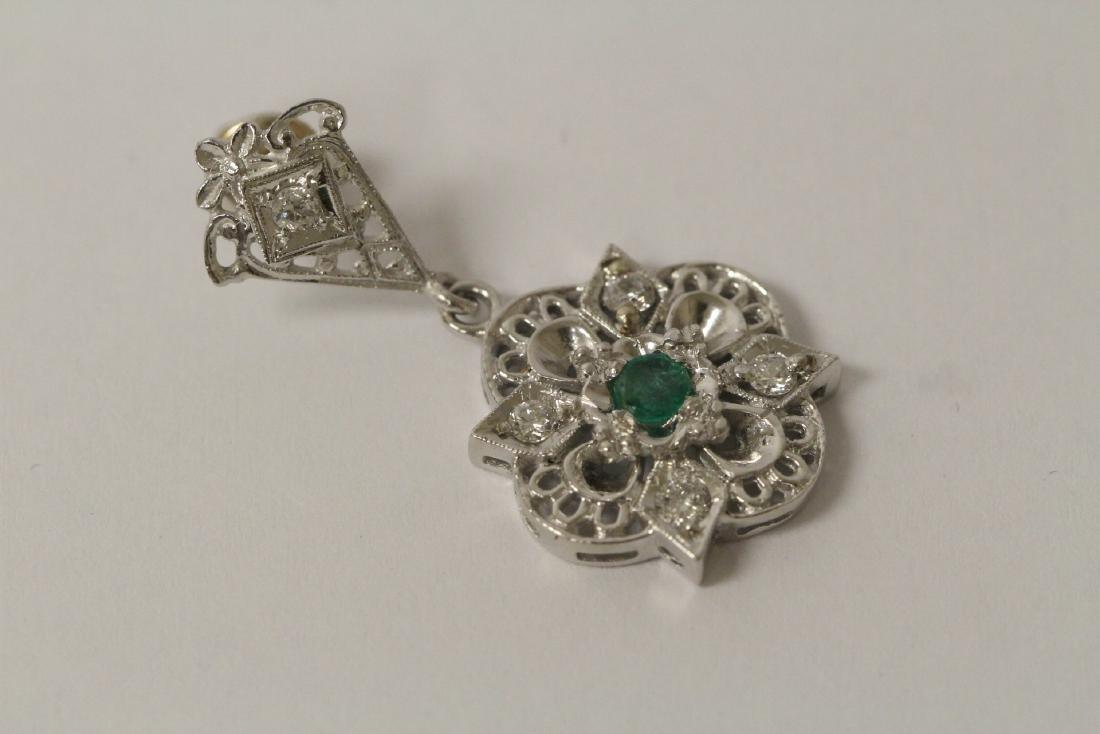 Pair 14K W/G emerald diamond earrings - 7