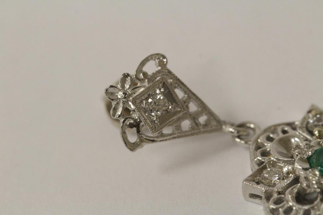 Pair 14K W/G emerald diamond earrings - 9