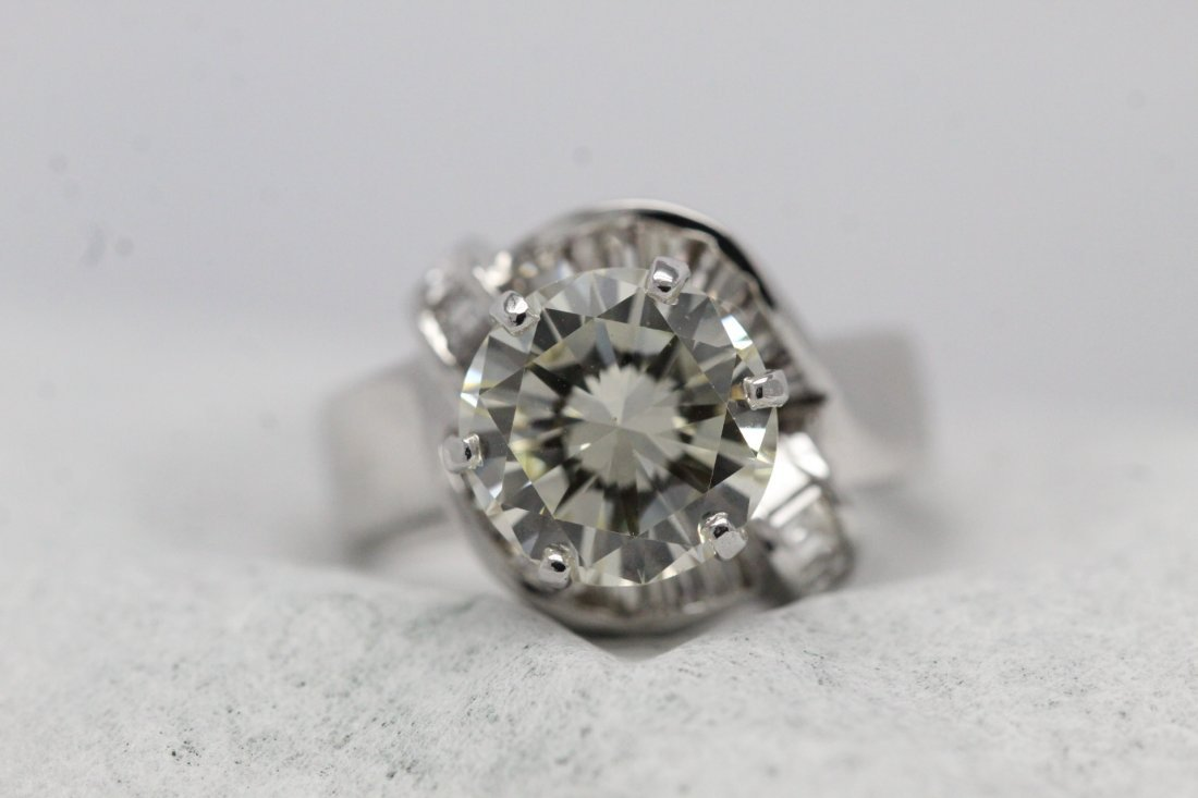 14K W/G 3.51ct solitaire diamond ring - 5