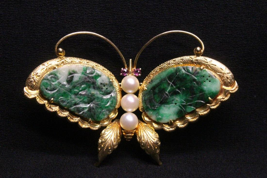Chinese antique 14K brooch w/ jadeite, pearls & rubies