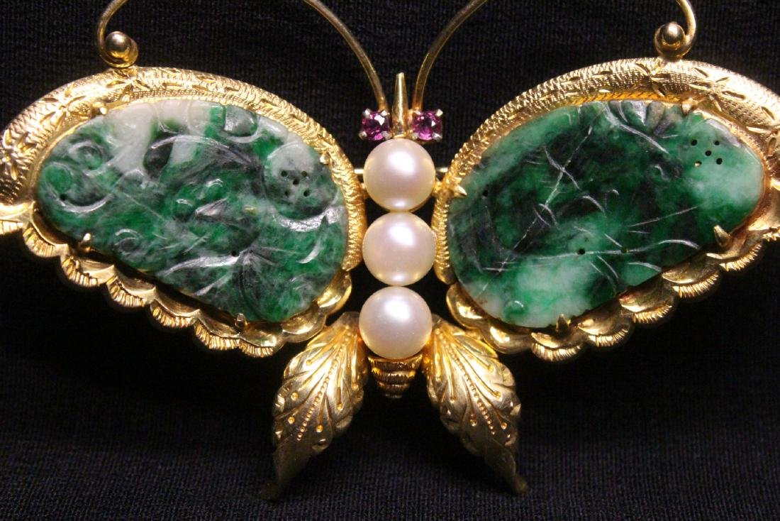 Chinese antique 14K brooch w/ jadeite, pearls & rubies - 2