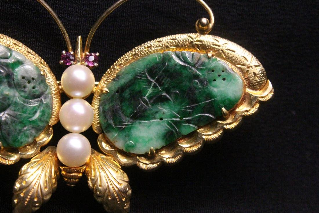 Chinese antique 14K brooch w/ jadeite, pearls & rubies - 3