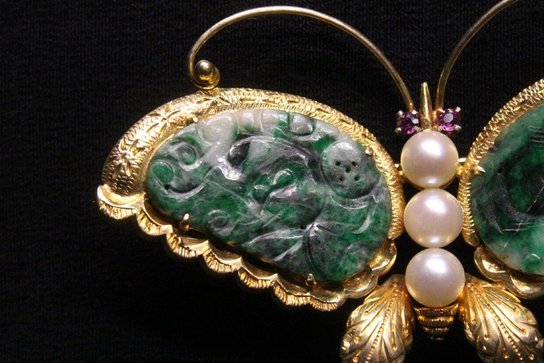 Chinese antique 14K brooch w/ jadeite, pearls & rubies - 4