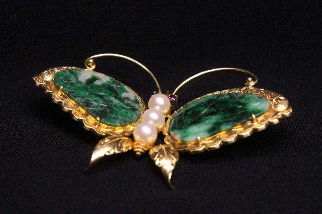 Chinese antique 14K brooch w/ jadeite, pearls & rubies - 5