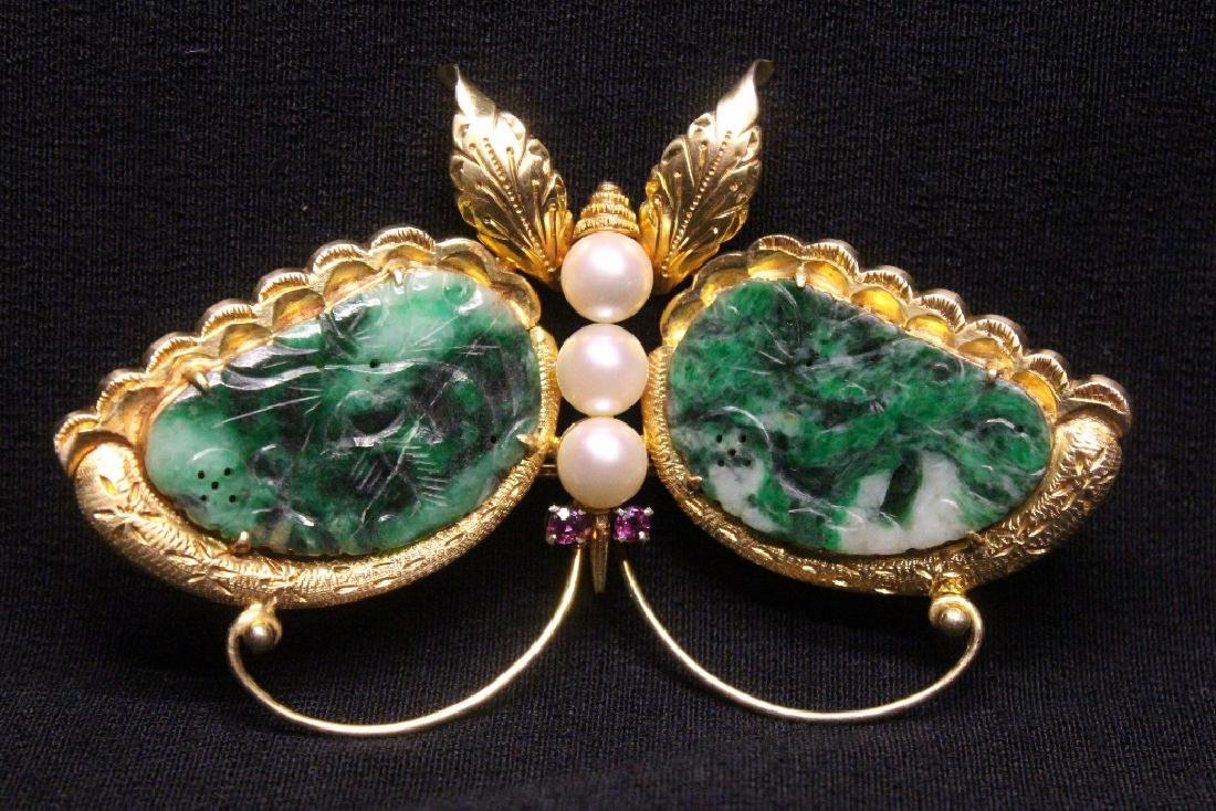 Chinese antique 14K brooch w/ jadeite, pearls & rubies - 9