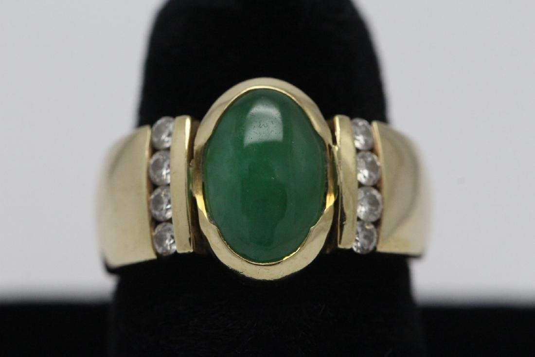 14K Y/G art deco design jadeite diamond ring
