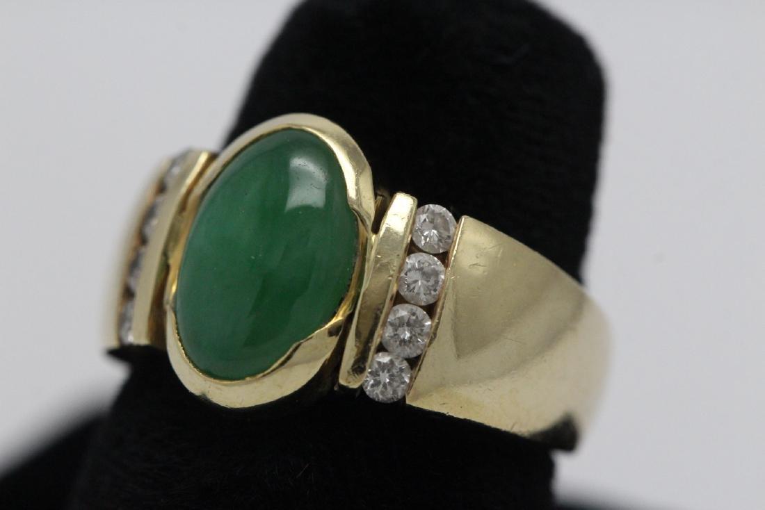 14K Y/G art deco design jadeite diamond ring - 2